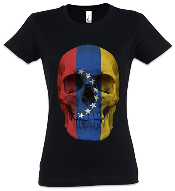 Classic Venezuela Skull Flag Mujer Girlie Women T-Shirt - Bandera Cráneo Schädel Banner Mujer
