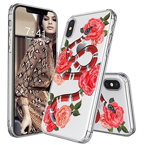 iPhone X Case, iPhone X Clear Case, MOSNOVO Fashion Snake with Roses Printed Clear Design Transparent Plastic Hard Case with TPU Bumper Protective Case Cover for Apple iPhone X/iPhone 10 (Printed Snake)