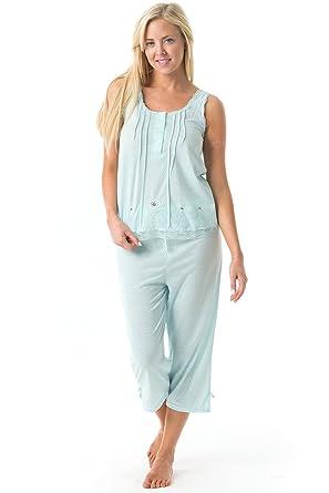 47526828cbc Casual Nights Women's Sleeveless Tank Top Capri Pajama Set - Green - Medium