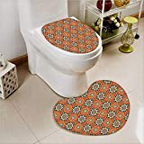 PRUNUS 2 Piece Toilet lid cover mat set Islamic Oriental s and Motifs with Colors Art Print Soft Shaggy Non Slip