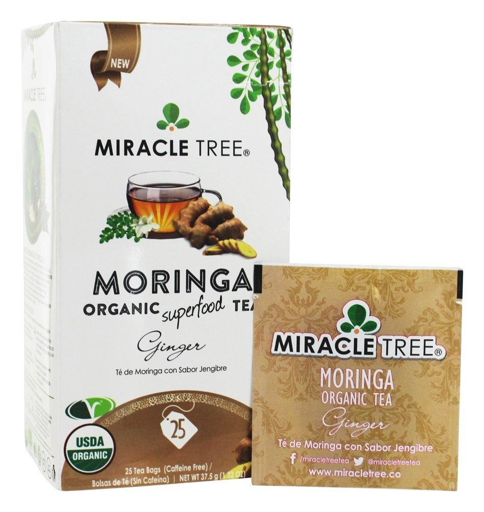 Miracle Tree - Organic Moringa Superfood Tea, 25 Individually Sealed Tea Bags, Ginger