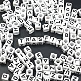 """Image of Trasfit 600 Pieces White Acrylic Alphabet Letter """"A-Z"""" Cube Beads for jewelry making, Bracelets, Necklaces, Key Chains and Kids Jewelry (6mm)"""