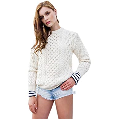 Women S Irish Aran Sweater Honeycomb Pattern Made In Ireland At