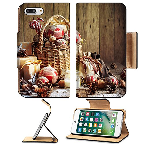 Luxlady Premium Apple iPhone 7 Plus Flip Pu Leather Wallet Case iPhone7 Plus 33968929 Christmas Basket with Vintage Gifts and Shining Candle Red balls Pine cones Snowflakes Boxes o (Snow Gothic)