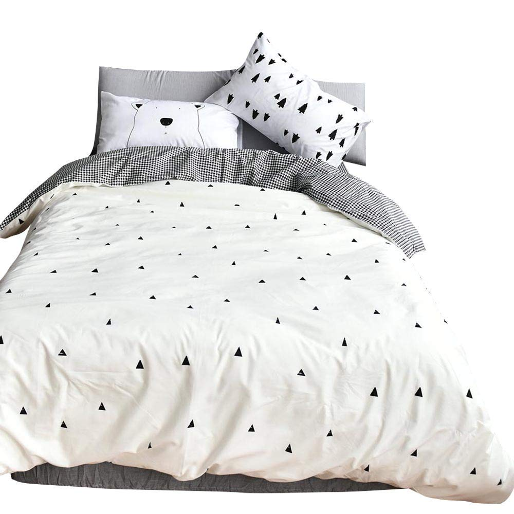 BuLuTu Forest Bear Kids Queen Duvet Cover White Cotton,3 Pieces Reversible Houndstooth Print Sale Soft Triangle Full Bedding Duvet Cover Set with Zipper Closure for Teen Boys Girls,No Comforter