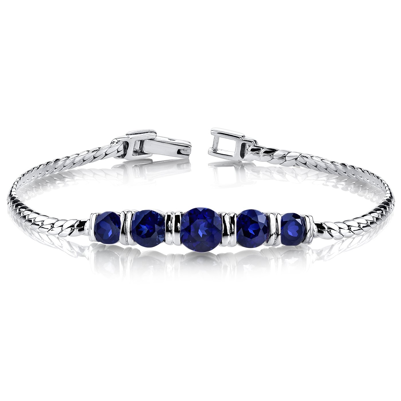Created Sapphire Bracelet Sterling Silver 5 Stone Design
