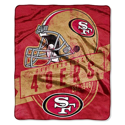 San Francisco 49ers Soft Blanket (Officially Licensed NFL San Francisco 49ers Grand Stand Plush Raschel Throw Blanket, 50