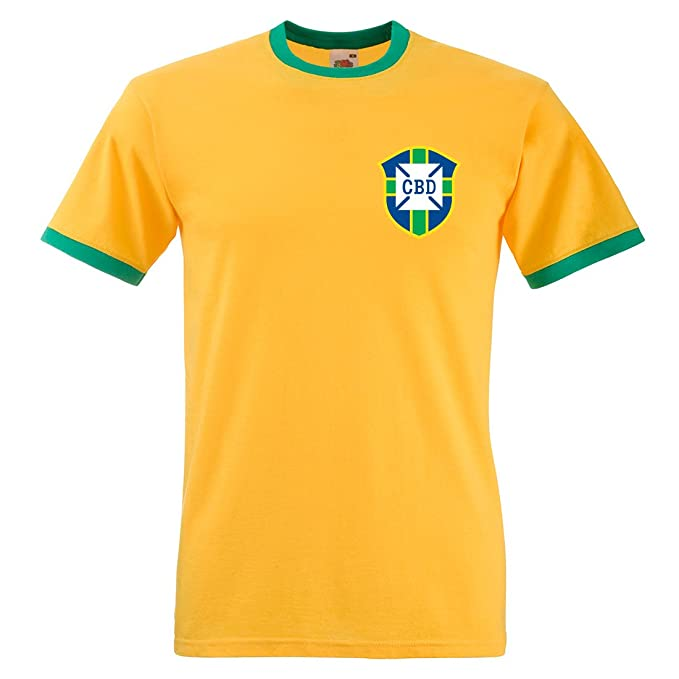 Camiseta de manga corta de Pelé de Brasil, Mundial de fútbol de 1970 Sunflower and Kelly Green XX-Large: Amazon.es: Ropa y accesorios