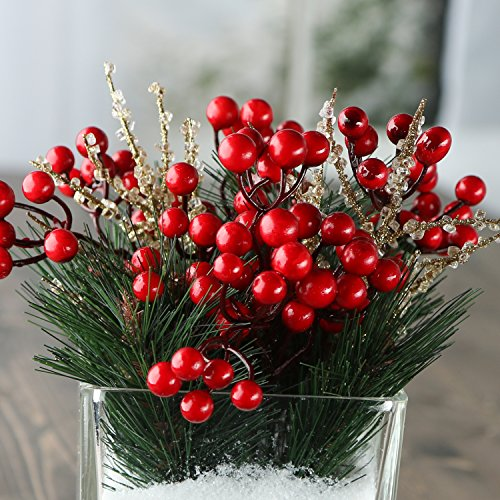 Factory Direct Craft Pine Sprigs, Berries and Gold Ice Sprays - Christmas Holiday Decorating Kit Christmas Floral