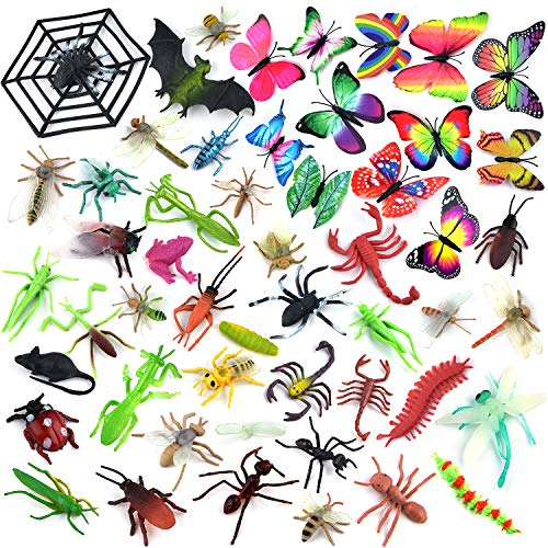 Coopay 51 Pieces Plastic Bugs Toy Figures for Kids Boys, Fake Bugs, Fake Spiders, Cockroaches, Scorpions, Crickets, Butterflies and Worms for Education and Christmas Party Favors ()
