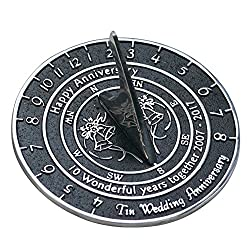 Tin Anniversary Sundial Gift Handmade In England By The Metal Foundry Ltd.