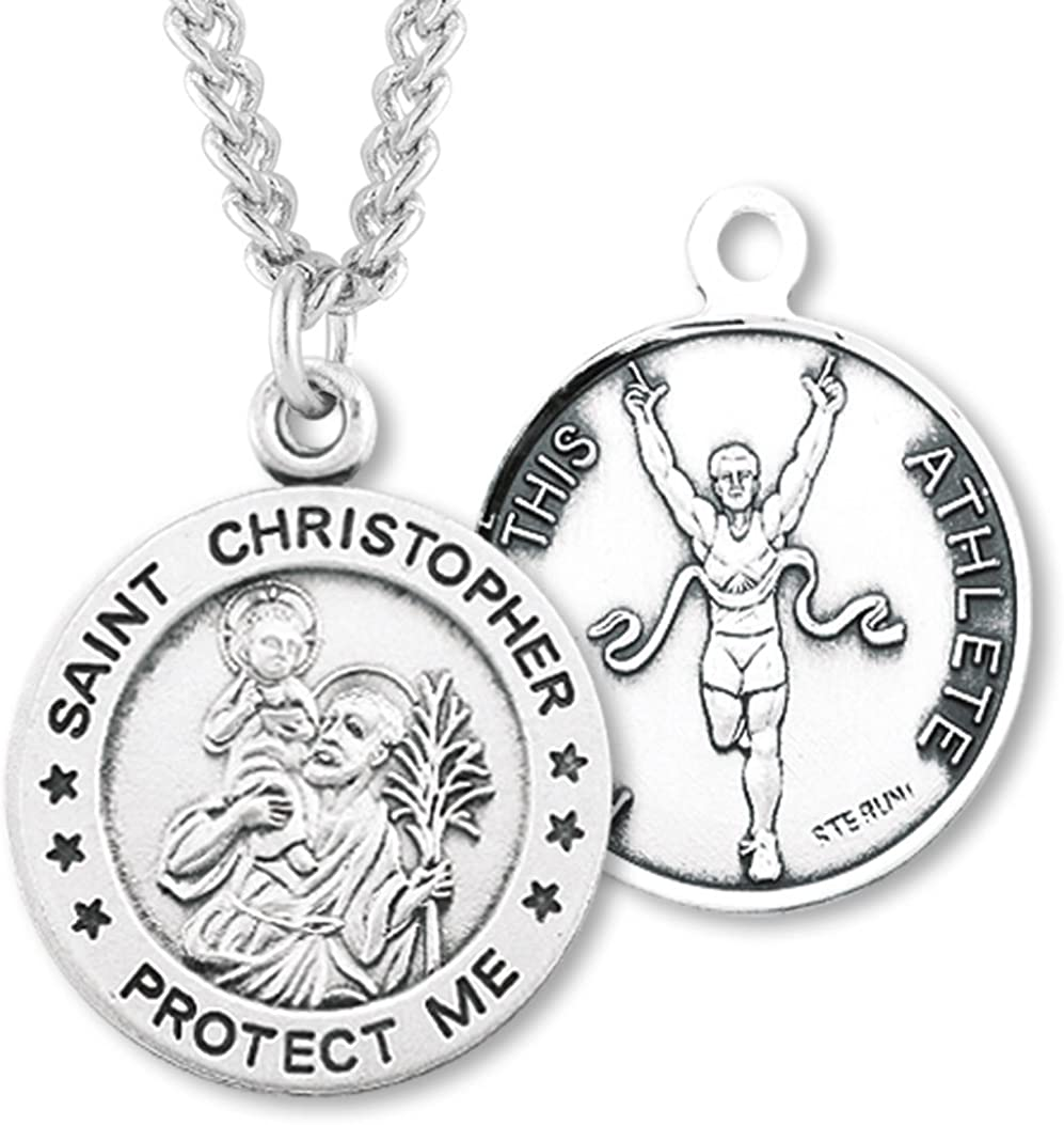 USA Made Heartland Boys Sterling Silver Round Saint Christopher Track /& Field Pendant Chain Choice