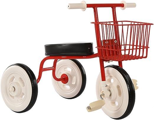 Bicicletas para niños Guo Shop- Triciclo Simple de los niños Bicicleta Vintage Bicicleta de bebé 1-3-4 años Cochecito de bebé Coche de bebé Interior (Color : Red): Amazon.es: Jardín