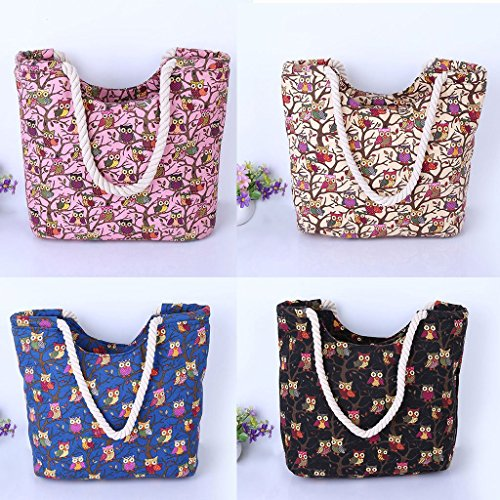 Bag Casual Canvas JAGENIE Shopping Female Beach Black Shoulder Cute Printing Beige Women Tote Owl FB1qfw
