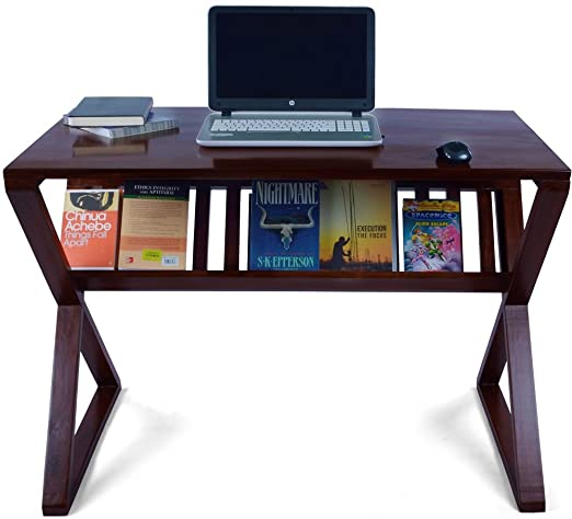 Mubell Palm Cross Solid Wood Study Table with book storage