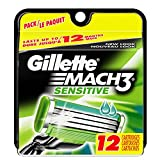 Gillette Mach3 Men's Razor Blade Refills, Sensitive, 12 Count