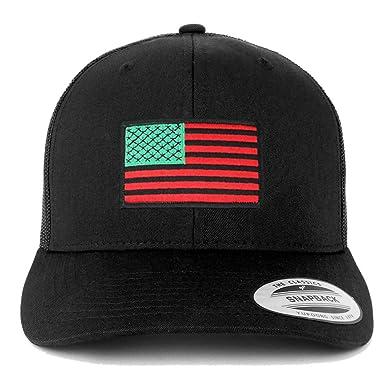 3fe280c5e37 Armycrew Flexfit Oversize XXL Red Green Black USA Flag Patch Retro Trucker  Mesh Cap - Black
