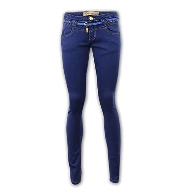0b0a22378299 Unknown - Pantalon Stretch Jean Femme Denim Skinny avec Ceinture Elastique  Neuf pour Femme - Denim