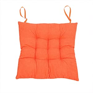 """Uheng Patio Indoor Outdoor Chair Pads Chair Seat Cushions with Ties, Solid Color Square Kitchen Dining Chair Mat Comfort Non-Skid for Garden - 15""""x15"""" (2Pack, Orange)"""