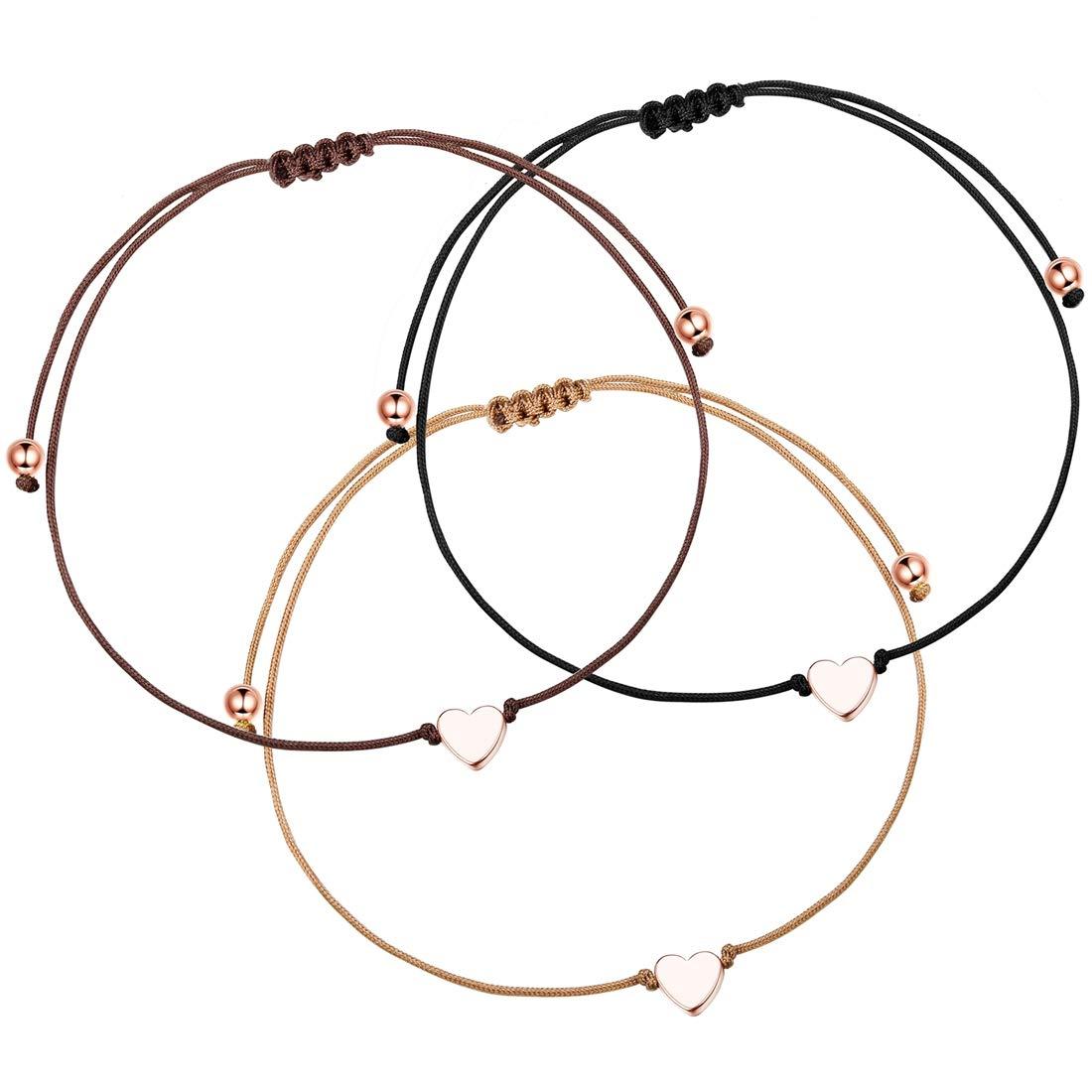 Yadoca 3 Piezas Pulsera de Cuerda de Coraz/ón para Mujeres Ni/ñas Pareja Sencillo Amor Coraz/ón Ajustable Pulsera de Cuerda