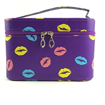 Amazon.com   Kiss Lips Print Cosmetic Bag with Handle Travel Makeup Bag  Toiletry Bag Holder Organizer for Women   Beauty 23afbc2577106