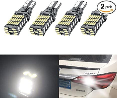 2x 45SMD 6000k White 921 T10 T15 Backup Reverse LED Lights Error Free Bulbs 12v
