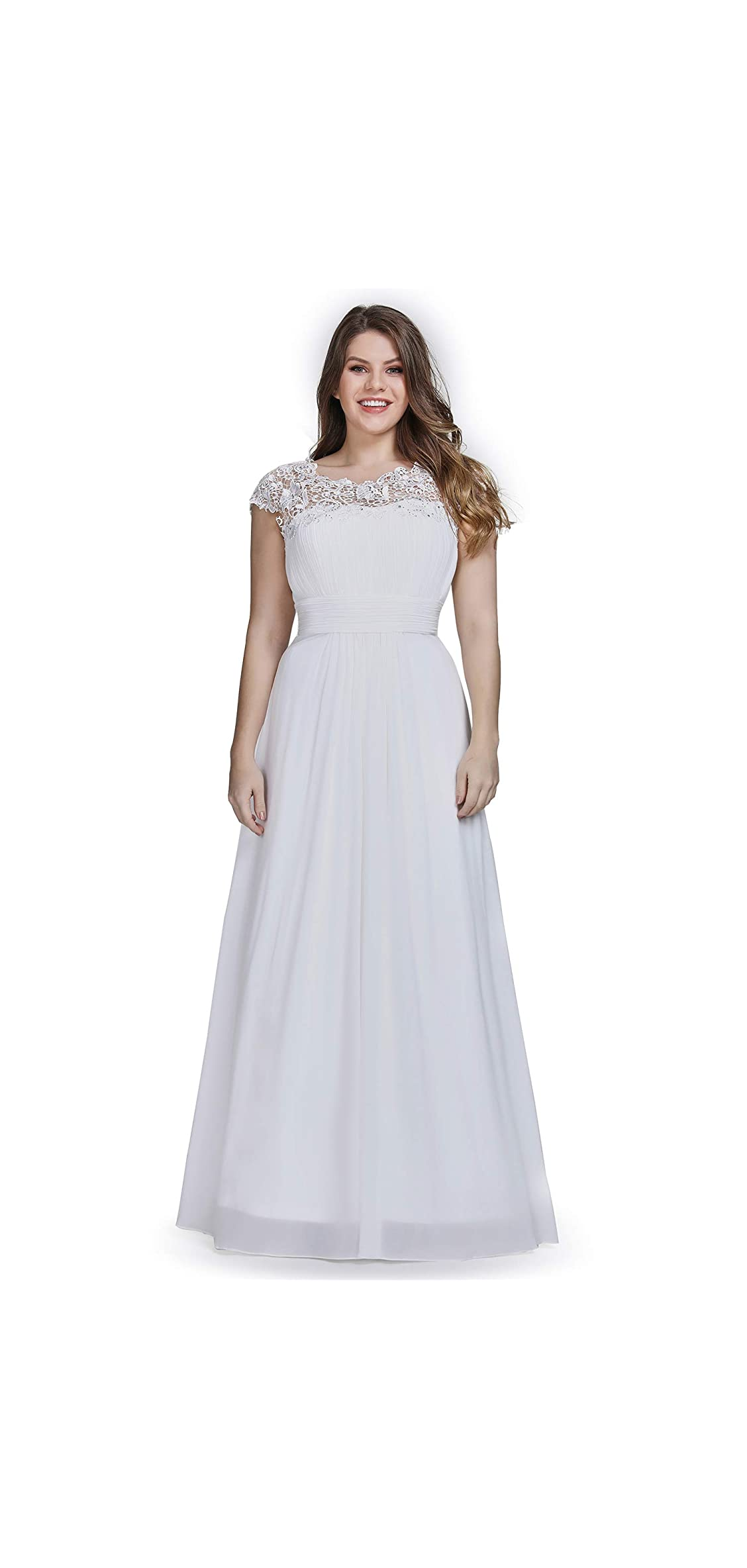 Women's Plus Size Lace Cap Sleeve Long Formal Party