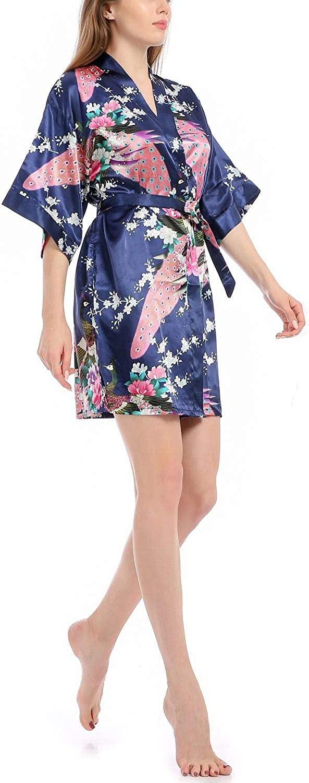 Mini Balabala Donna Sleepwear Kimono Vestaglia Pigiama di Seta Raso di Seta del Gru e Fiori Robe Accappatoio Damigella dOnore da Notte Pigiama Stile Corto