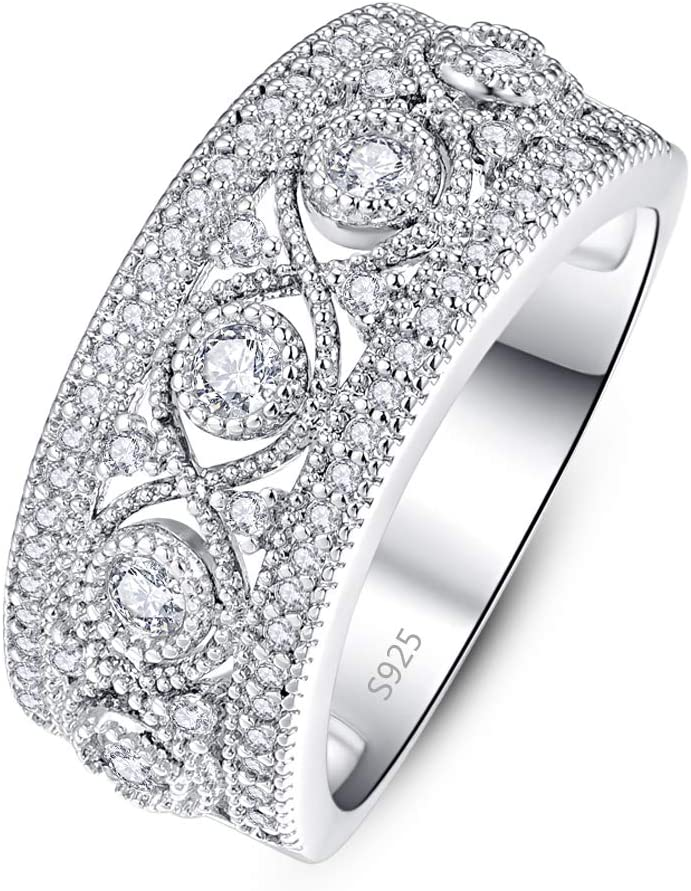 PAKULA 925 Sterling Silver Women Cubic Zirconia Wedding Band CZ Eternity Stacking Ring