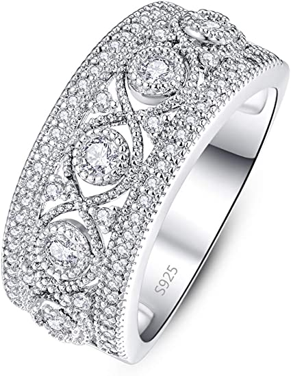 PAKULA 925 Sterling Silver Women Princess Cut Cubic Zirconia Wedding Band CZ Ring