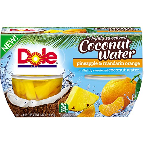 Dole Fruit Bowls Pineapple Mandarin Orange in Slightly Sweetened Coconut Water, 4 Cups, Pack of 6
