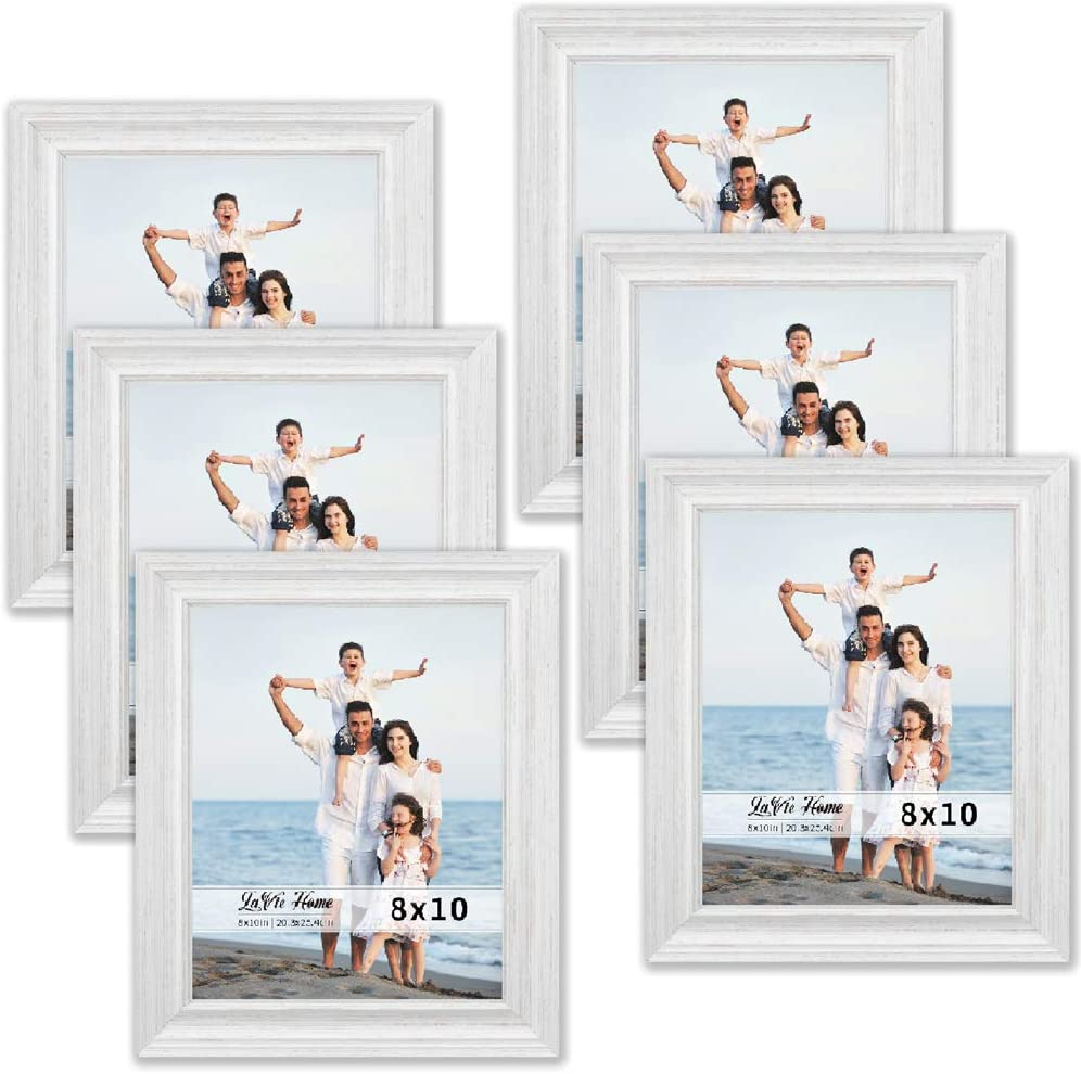 LaVie Home 8x10 Picture Frames (6 Pack, Distressed White Wood Grain) Rustic Photo Frame Set with High Definition Glass for Wall Mount & Table Top Display, Set of 6 Elite Collection