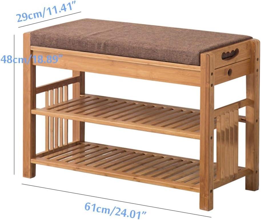 Tama/ño : S Chair Banco de estantes para Zapatos Ideal para el ba/ño del Pasillo repisa de Zapatos para Botas Organizador de Almacenamiento con Asiento