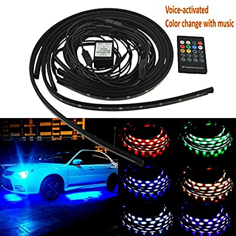 4 Piece Long Car Underbody chassis Neon Lights Kit with Wireless Remote 120cm/90cm
