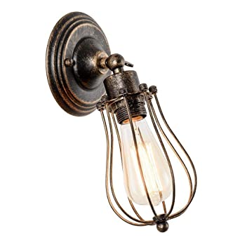 Retro - lámpara aplique estilo industrial lámpara de luz de jaula ...