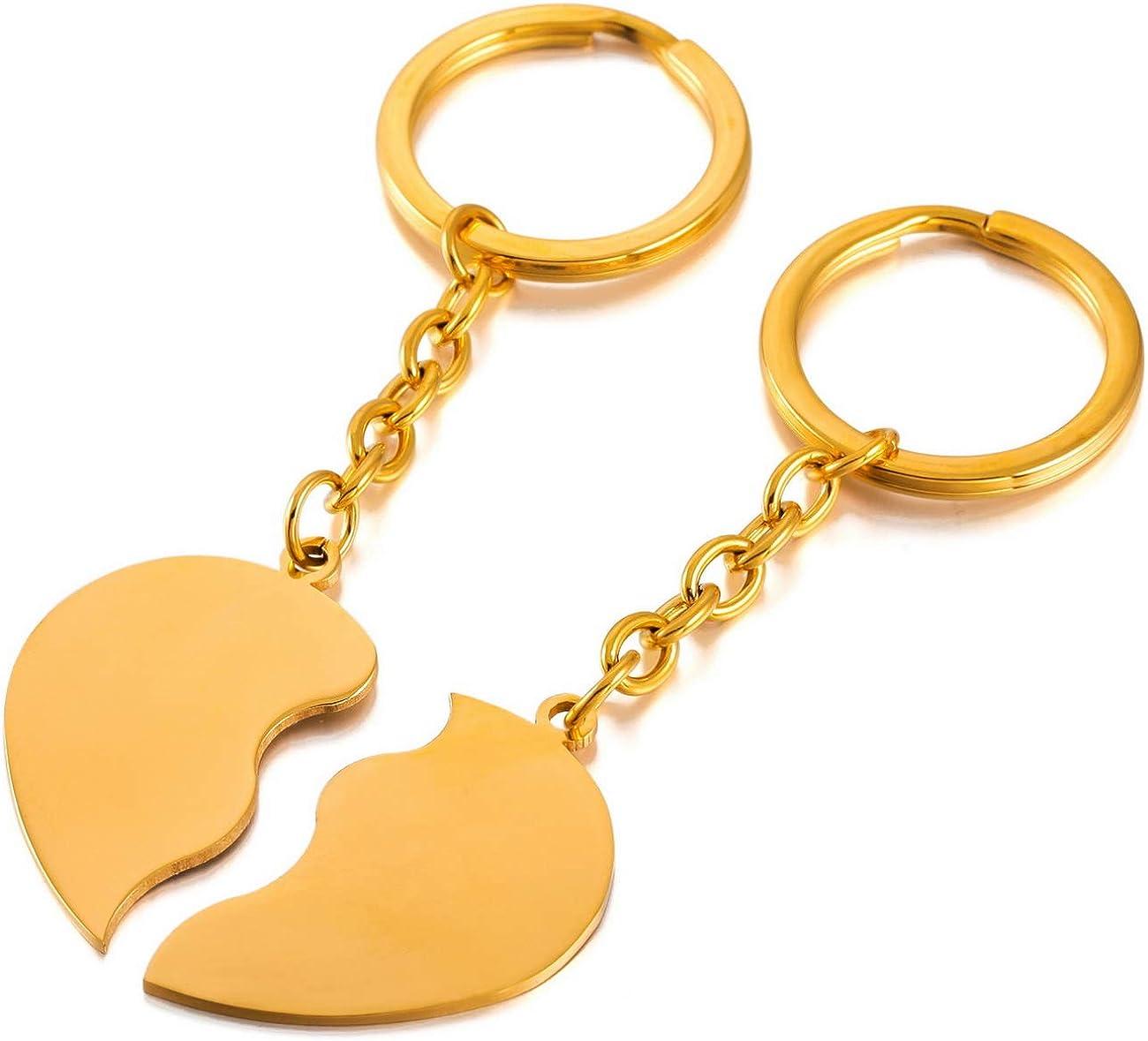 MeMeDIY Noir dargent Or Deux Ton Acier Inoxydable Porte Cl/és Coeur C/œur Couple Amour Amoureux Gravure personnalis/ée