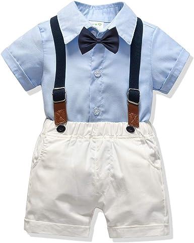 Baby Boy Clothes Set Shirt Bowtie Suspender Pant Set 4pcs Toddler Boy Infant Gentleman Outfits Suit Set