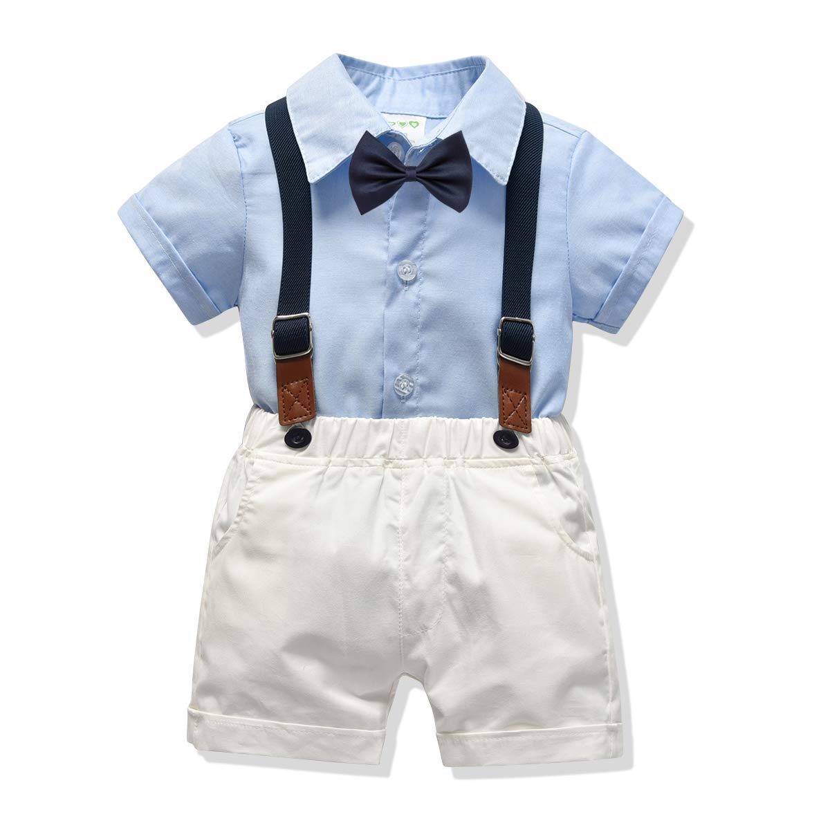 Carlatar Little Boys Gentleman Outfits Suits,Baby Boys Short Sleeve Shirt Set,Short Shirt+Suspender Short Pants+Bow Tie 4Pcs