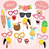 Set of 20 PCS Flamingo Tropical Hen Photo Booth Props Stick, Summer Beach Party Decor, Paper Crafts Events Birthday Party Supplies