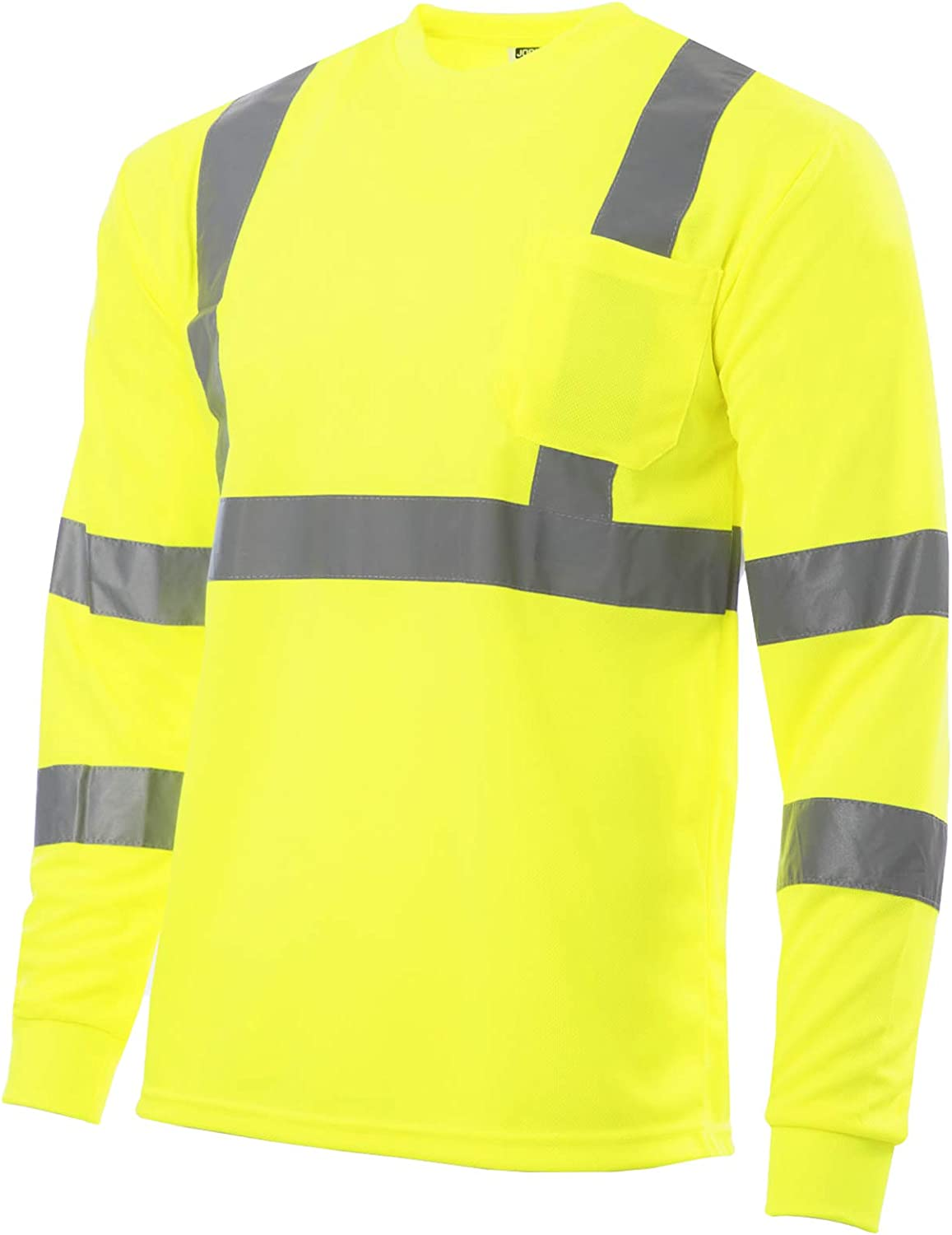 JORESTECH Safety T Shirt Reflective High Visibility Long Sleeve Yellow/Lime ANSI Class 3 Level 2 Type R TS-02 (XL)