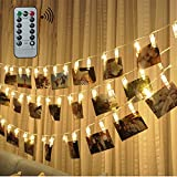Updated LED Photo Clip string light (Remote & Timer, 8 Modes), FengNiao 40pcs Photo Hanger Clips with Fairy Lights LED Picture Light Battery Powered for Decoration Hanging Photo, Notes, Artwork (Warm White)