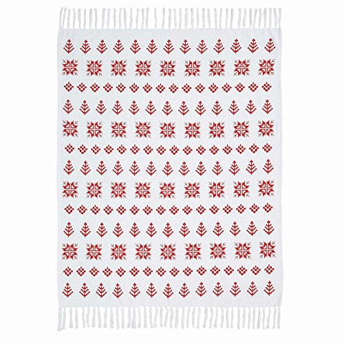 Bernard Snowflake Print Winter Cabin Woven Cotton Throw Gift 60x50 inches - Holiday Decoration