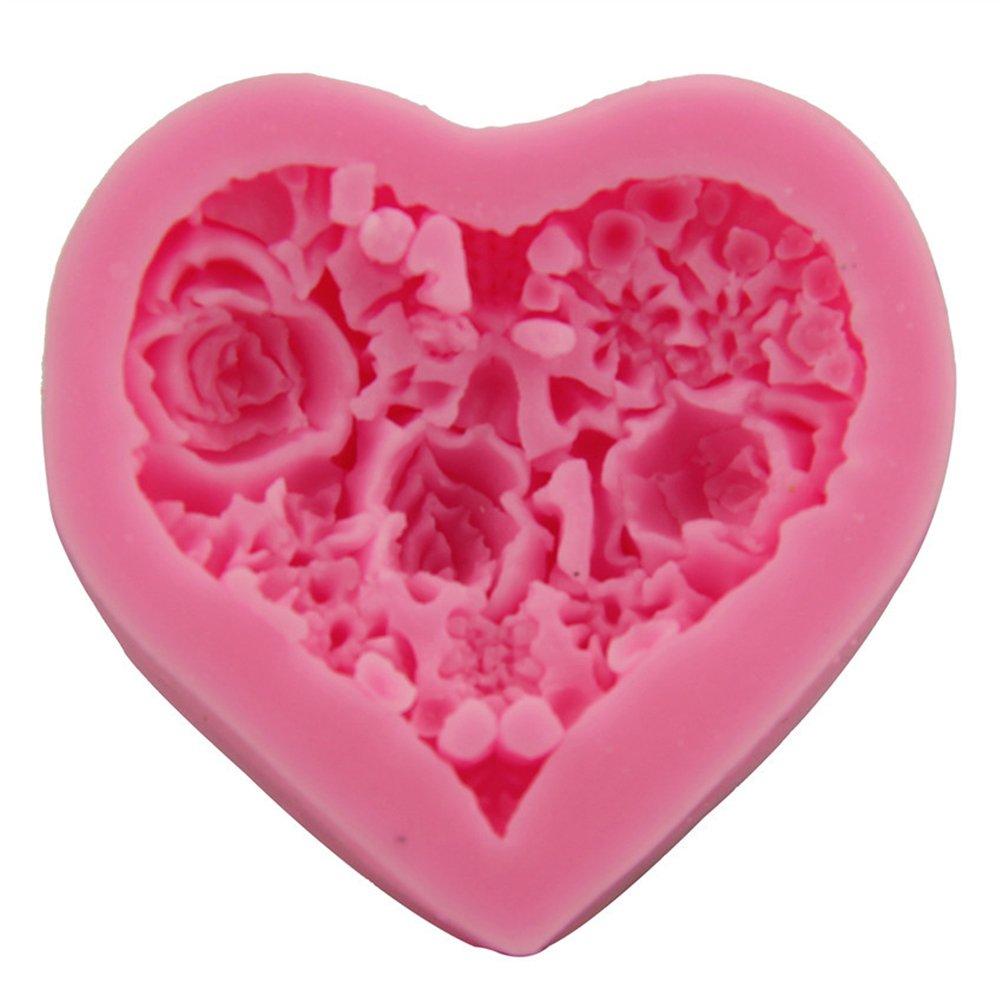 Rosa BESTONZON Molde de Silicona Fondant 3D Heart Rose Moldes de Arcilla polim/érica para Pastel de Bud/ín de Jab/ón Arcilla de Pol/ímero