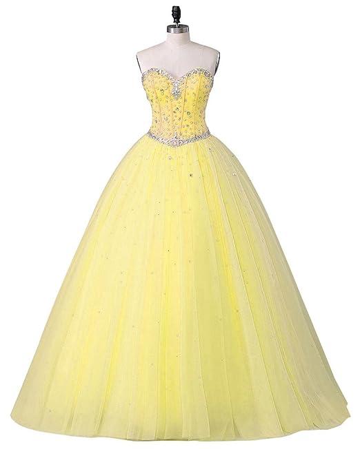 Beautyprom - Vestido - para mujer Amarillo amarillo 34