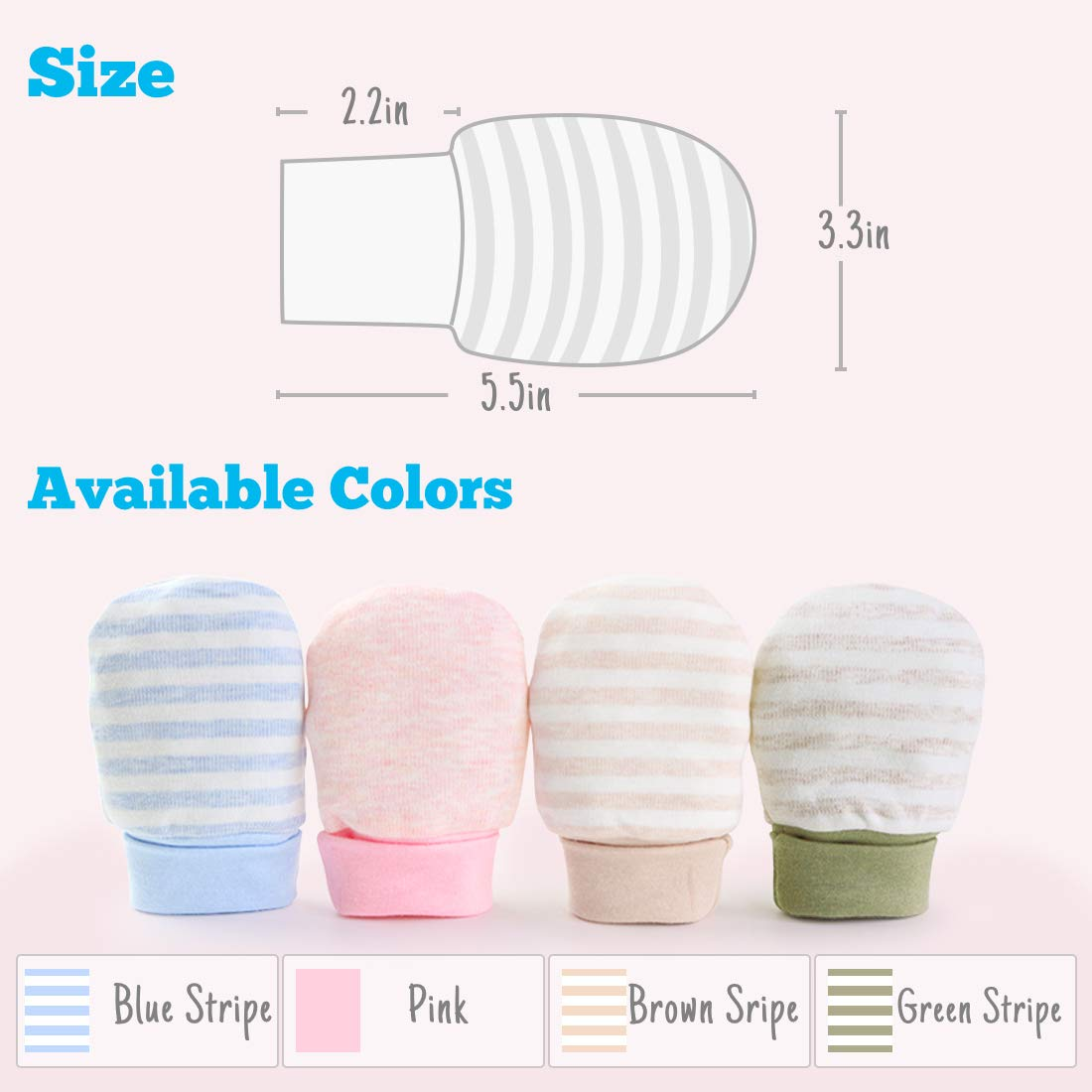 Blue Stripe Kalevel 2 Pairs Newborn Baby Mittens Anti Scratch Baby Gloves with Long Cuff Organic Cotton Baby Mittens Infant Gloves for 0-12 Months Growing Babies