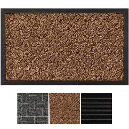 GRIP MASTER Durable, All-Natural Rubber Commercial Grade Door Mat, Large (29x17) Boot Scraper Doormat, Indoor Outdoor Mats, Waterproof, For Inside/Outside, Low-Profile, Easy Clean (Beige Basket Weave)