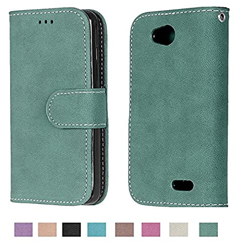 LG Optimus L90 Case, LG Optimus L90 Wallet Case TOMYOU Suede Leather Scratch-resistant Anti Slip Built in Card Slots Holder Kickstand Cover for LG Optimus L90 D415 (Covers Lg Optimus L90)