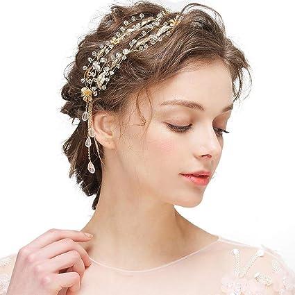 Amazon Com Rhinestone Hair Strap With Bridal Headband Headdress