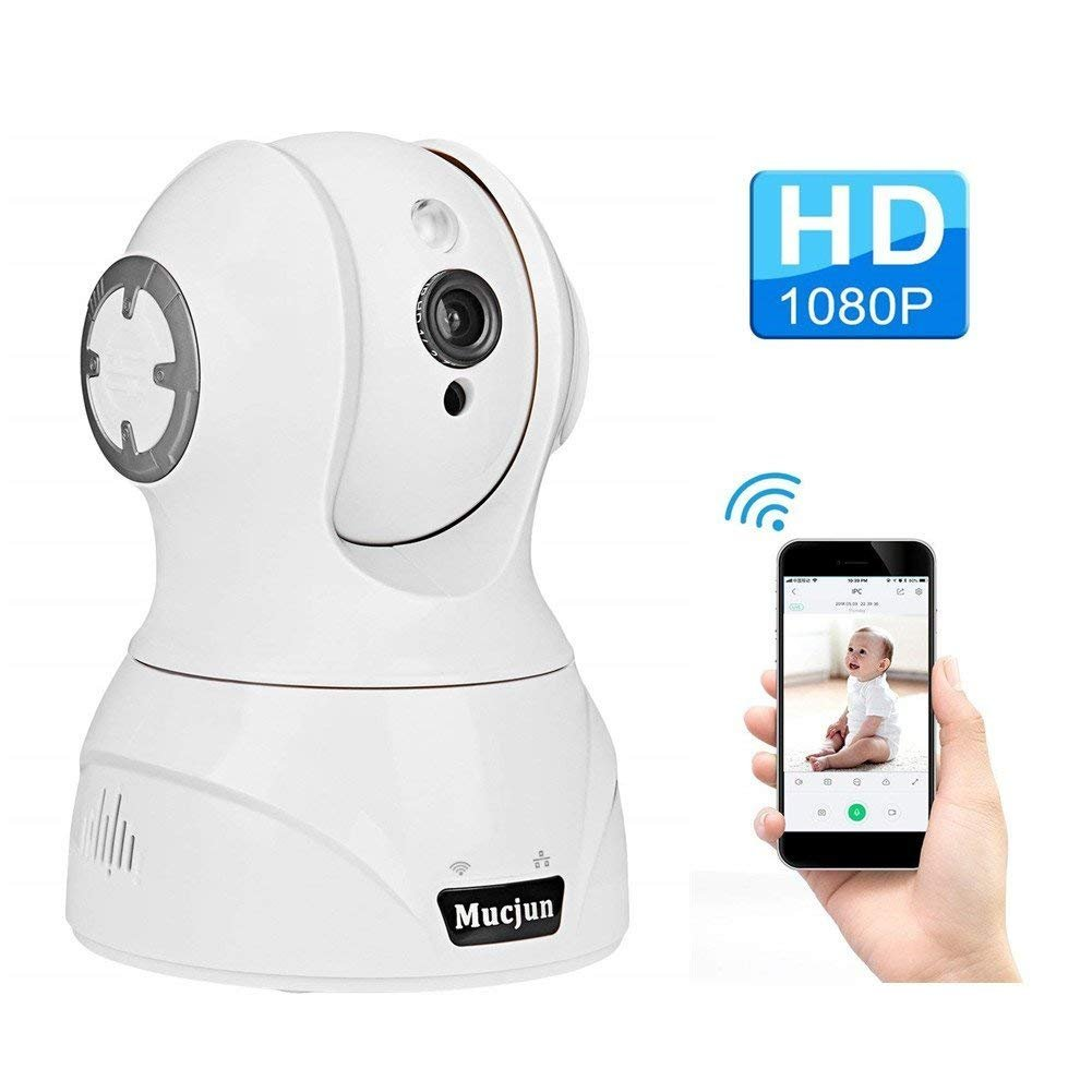 Security Wireless IP Camera, Mucjun HD 1080p WiFi Surveillance Camera Nanny Cam for Baby/Elder/Pet, 2 Way Audio Night Vision Motion Detection Alert, Pan/Tilt/Zoom Remote Monitor -Work with Alexa