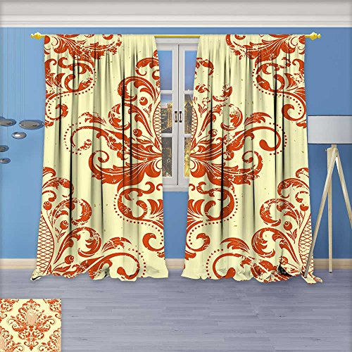 (Twigs Fashion Design Print Thermal Insulated Blackout Curtain Vector vintage damask seamless pattern element Grunge print style Grunge for wallpapers with Tops for Bedroom108